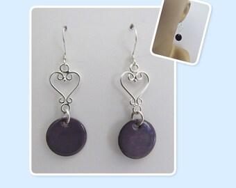 Iris Purple Circle Enamel Sterling Silver Heart Earrings