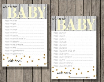 Wishes for baby printable, baby shower printable, baby neutral printable, wishes for baby.