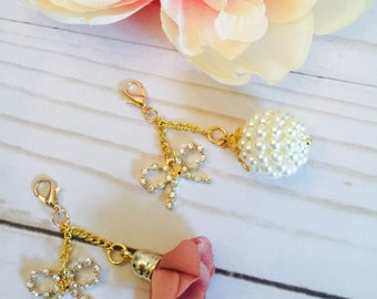 Bow and Flower Travelers Notebook Charm ~ Planner Charm ~ Pearl Charm ~ TN Charm