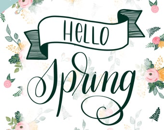 Hello Spring -Floral Print     8.5x11
