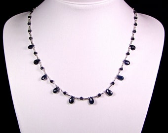 Natural Sapphire and Sterling Silver Necklace - N176