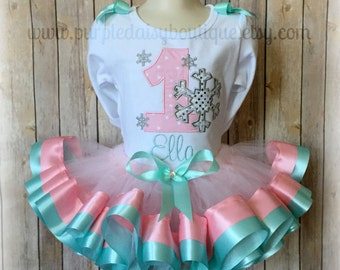 Winter Onederland First Birthday Double Ribbon Trim Tutu Outfit