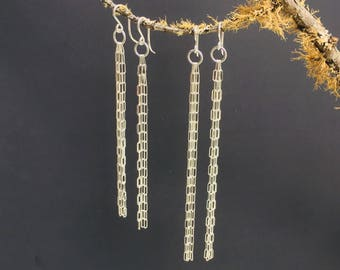 Long Chain Earrings in Argentium Silver 9.5 -11cm / Ready to Ship / Hand Made in Australia