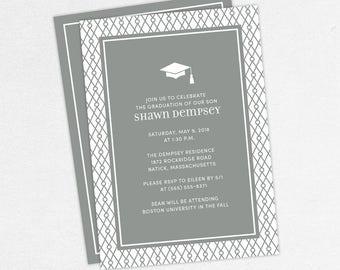 Graduation Invitation, Graduation Announcement, Printable Invite, Invitation PDF, DIY Graduation, Printed Invites, Modern, Boy, Shawn, Gray