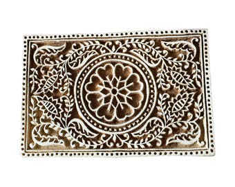 Rectangle Floral Stamp Block Print Stamp Textile Stamp Fabric Stamp