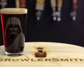 Darth Vader Etched Pint Glass 16 oz