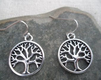 Silver Tree of Life Earrings - Silver Tree Jewelry - Simple Everyday Silver Tree Earrings
