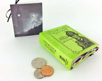 """Sherlock Holmes Coin Purse, Sir Arthur Conan Doyle, Classic detective novel, """"There is nothing more deceptive than an obvious fact."""""""