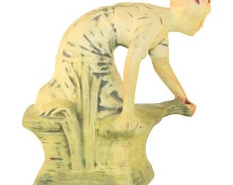 Weller Pottery Muskota Kneeling Woman On a Rock Figurine