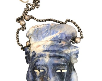 Lapis Carved Man Necklace