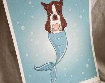 Mermaid Boston Terrier - Brown - Eco-Friendly 8x10 Print