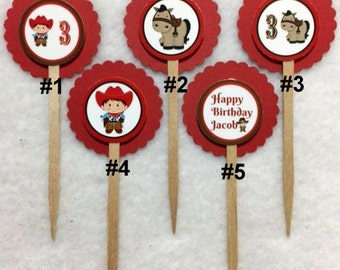 Set Of 12 Personalized Cowboy 3rd Birthday Party Cupcake Toppers (Your Choice Of 12)