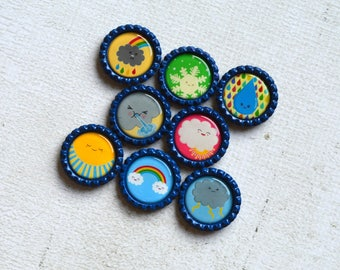 Weather Bottlecap Magnets- Learning Gift- Homeschool- Weather Seasons- Science Teacher Gift- Teacher Magnets- Science Kids- Teacher Gift