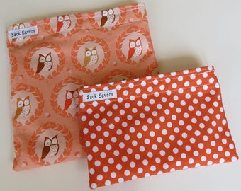 Reusable Sandwich and Snack Bag Set Eco Friendly Owls Orange Polka Dots