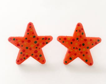 Hand Painted Multi-Colored, Polka Dot, Star Earrings.