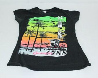 Vintage Black Neon Women's St Simons Island GA Georgia S Small Cap Sleeves Tshirt