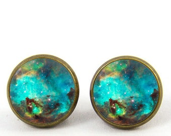 nebula earrings studs galaxy earrings nebula stud posts -with gift box