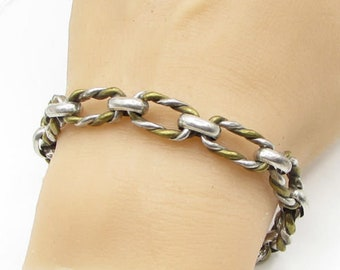 Mexico 925 sterling silver - vintage 2-tone twisted rolo chain bracelet - b1295
