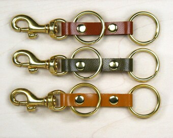 Womens leather keyring, leather keychain, leather key fob, red keyring, green keychain, camel brown keyring, brass keyring, nickel key ring