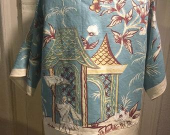 Blue cotton kimono jacket with asian design