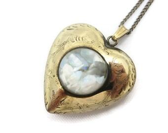 Opal heart pendant etsy quick view opal heart pendant aloadofball Choice Image