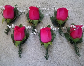 Set of Six Hot Pink Rosebud Bouttonieres
