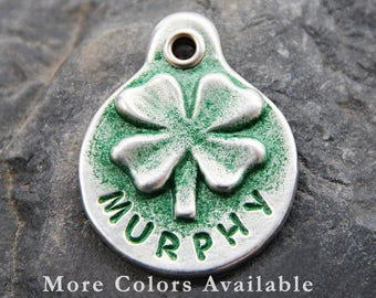Dog Tag for Dogs - Shamrock Dog Tag - Hand Stamped Dog Tag - Dog ID Tag - Handmade Dog Tag - Personalized Pet Tags