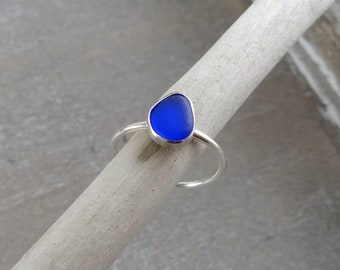 Cobalt Blue Sea Glass Ring in Sterling Silver size 9.5