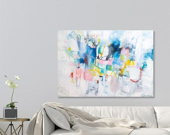 Abstract painting on Canvas, Large wall art, Large canvas art, Colorful Large abstract art Above Bed by Duealberi