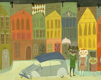 The cat family in York.  Limited edition print by Matte Stephens.