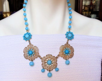 Vintage Filigree & Blue Beads Flowers Necklace, Shades of Blue Plastic Cabochons and Beads Gold Tone Floral Necklace, Summer Jewelry
