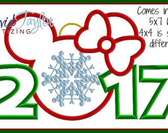 1 dollar on Website-Ornament Minnie 2017/2018 Embroidery Design 4x4 5x7 6x10 9 format-Applique Instant Download-DTDigitizing Christmas MVMCP