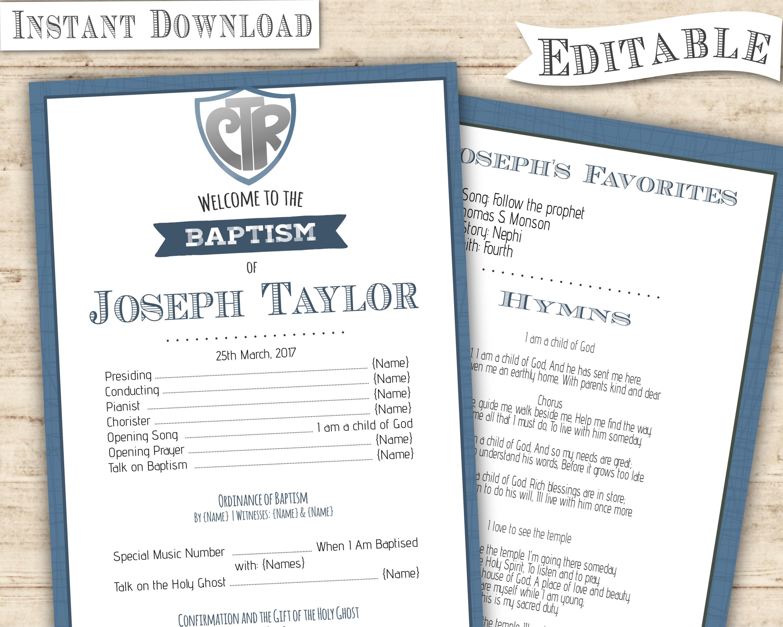 LDS Baptism Program Boy CTR Navy Baptism Program Blue Editable