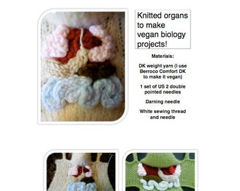 Knitted organs for vegan biology projects PDF pattern