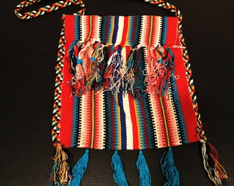 Brightly Colored Stripped Vintage Hand Woven Crossbody Bag