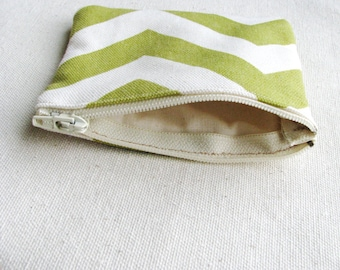Zippered Coin Purse Cosmetic Bag Small Zipper Clutch Pouch Small Hand Bag Jewelry Pouch Quilted Sage Green White Fabric Chevron Material