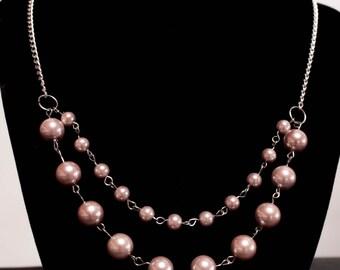 Pink Pearl multi strand necklace - silver tone