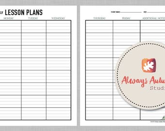 Printable 8 Subject / Assignment / Weekly Lesson Plan Planner - 2 Page - Minimalist Watercolor Misty Pine