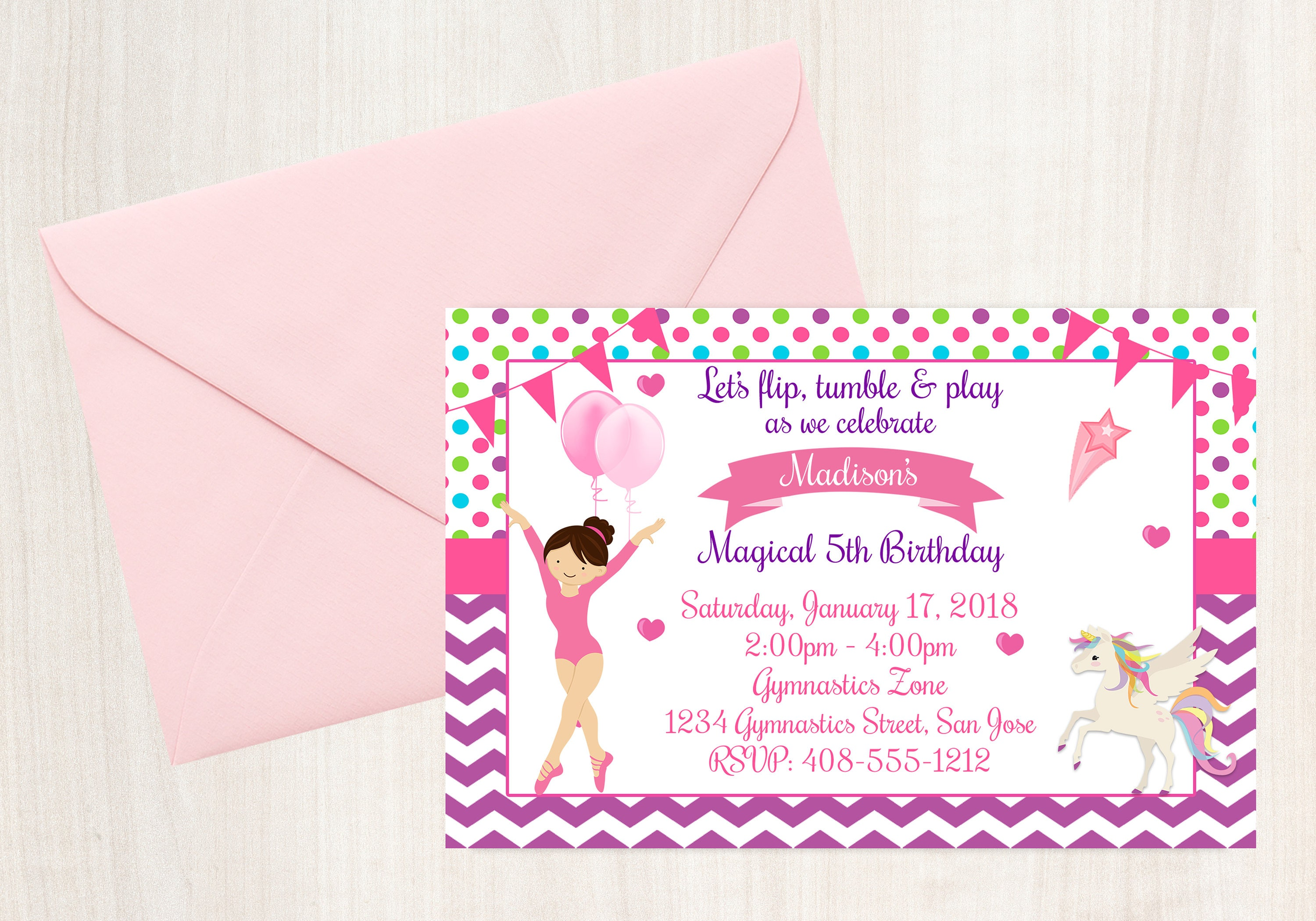 Gymnastics Unicorn Gymnastics Party Unicorn Invite