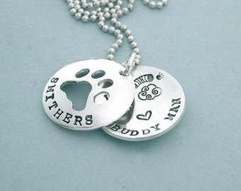 Dog Agility Remembrance Necklace - Locket Style - Hand Stamped Sterling Silver - Agility in Heaven - Canine Agility Jewelry