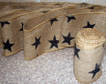 "2 rolls Wired burlap ribbon  Black Stars 3"" wide X 6' long ~ country primitive"