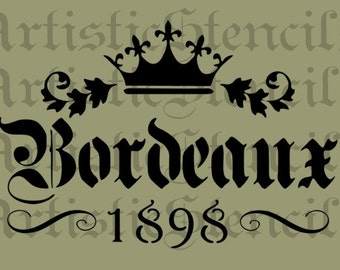 STENCIL Bordeaux Crown Scroll 10x14.8