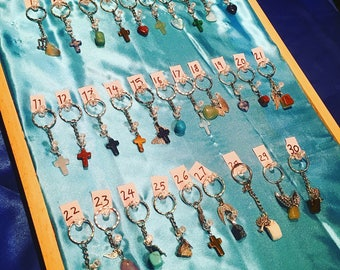 Sacred Key ring -precious stones and crystals/Pendants