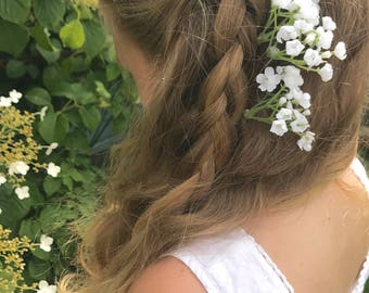 Gypsophila Flower Spray Babys Breath Hair Pin Slides Bridal Bride