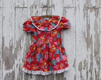 Short sleeve red dress, puff sleeves, white lace, red with colorful flowers, Popsicle brand, size 6, 1980s, cabbage roses, button back