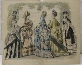Victorian Fashion Art Print ~ Peterson's Magazine Fashion Plate ~ Great for framing! ~ June 1873