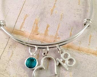 Birthday bracelet  18 Charm Bracelet  heart charm  adjustable bangle   18th birthday Pearl bracelet  personalized Jewelry   gift for her