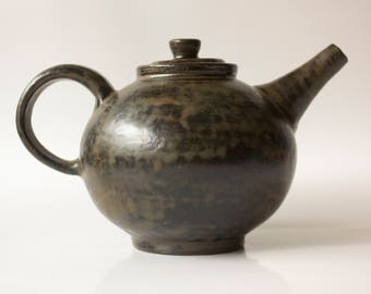 Handmade Pottery Black, Brown Ceramic Teapot. Stoneware Teapot