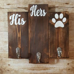 His Hers And Dog Key Holder, Key And Dog Leash Holder, Entryway Key Hook