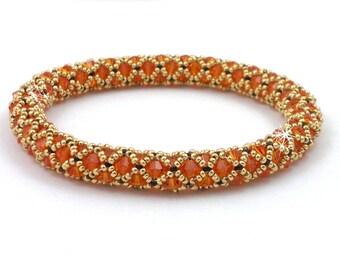Beading4perfectionists:  Netted bangle bracelet beading pattern tutorial PDF file